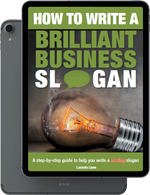 Book picture: How to write a brilliant business slogan. A step-by-step guide to help you write a sizzling slogan. Lucinda Lions.