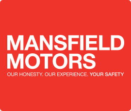 Mansfield Motors logo and slogan: Our honesty. Our experience. You safety.
